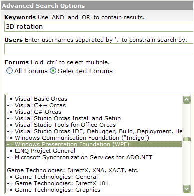 Search the WPF Forum