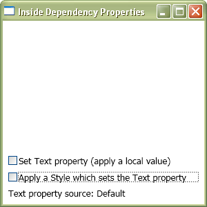 The Text property's default value is being used here