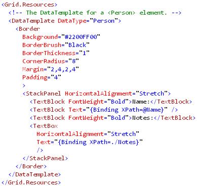 Binding to XML(DataTemplate)