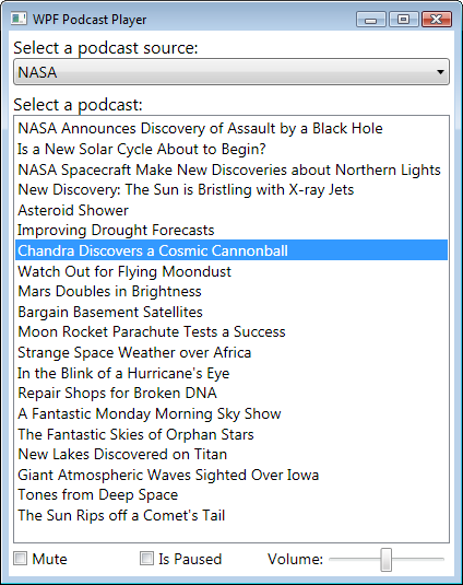 WPF Podcast Player (screenshot)