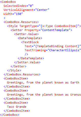Showing an Ellipsis for Clipped Text in a ComboBox | Josh Smith on WPF